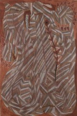 John Mawurndjul's Rainbow Serpent and Water Lilies. His work also featured in the 1989 exhibition.