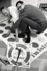 The inventors of Twister, Charles Foley and Neil Rabens, show the ideal game for quarantine. No further comment is required.
