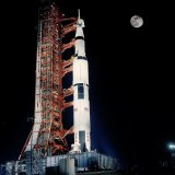 The Space Race galvanised and focused competition. Apollo 17 mission ready for launch in 1972.