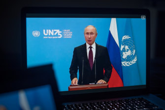 Vladimir Putin delivered a pre-recorded message to the UN General Assembly.