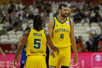 Andrew Bogut, right, played his best game of the tournament.