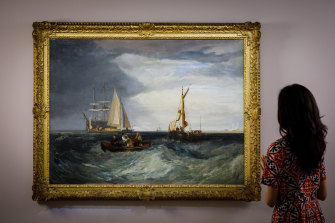A rare seascape by J.M.W. Turner goes on view for the first time in 75 years at Sotheby's in London.