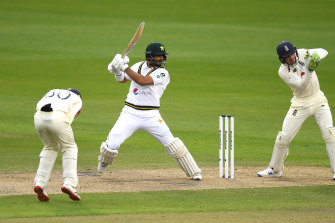 Shan Masood hits out against England on the first day of the first Test at Old Trafford.
