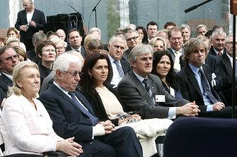 The Lowy family: from left to right, Shirley Lowy, Frank Lowy, Judy Lowy, Steven Lowy, Margo Lowy and David Lowy.