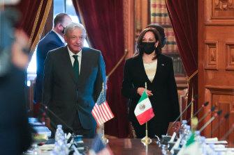 Mexico Andres Manuel Lopez Obrador and US Vice-President Kamala Harris arrive for their meeting at Palacio Nacional, Mexico City.