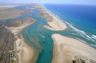 The mouth of the Murray River in South Australia where little of the flows reach the sea even with dredging.