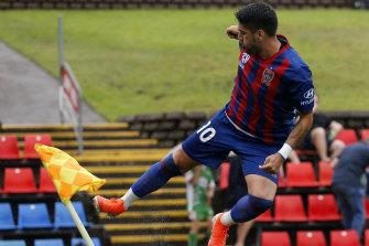 Dimi Petratos celebrates a first-half goal during Newcastle's 4-3 A-League win over Central Coast.