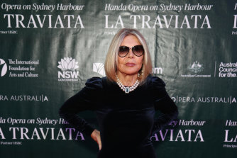 Carla Zampatti arriving at the premiere of La Traviata on March 27, 2021.