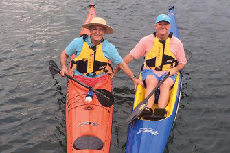 Kayaking on Sydney Harbour with John Key in 2016.