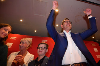 Premier Daniel Andrews and his family celebrate Labor's election win in 2018.