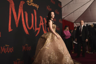 Yifei Liu, star of Mulan, at the premiere of the Disney film in Los Angeles.