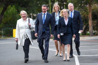 Ready for a challenge: O'Brien arrives with his supporting band of senior MPs who worked into the night on Monday.