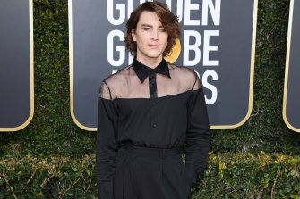 American Horror Story star Cody Fern at last year's Golden Globes. He was lauded for his gender-blurring appearance on the red carpet.