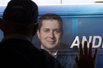 Conservative Party leader Andrew Scheer's bus arrives at a campaign stop in Hamilton, Ontario on Saturday.