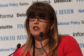 Anissa Levy speaking at the AFR National Infrastructure Summit in her role at Infrastructure NSW in June 2018.