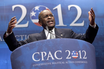 Herman Cain addresses the Conservative Political Action Conference in Washington in 2012.