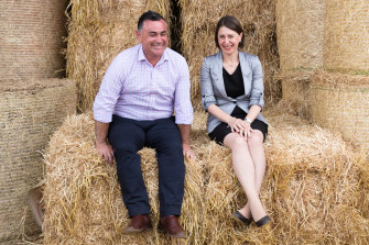 Happier times: Premier Gladys Berejiklian and Deputy Premier John Barilaro together in Lismore.