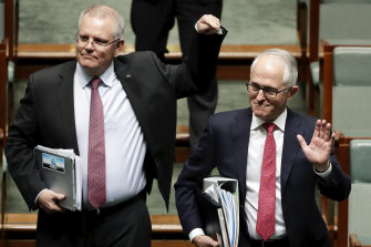 Scott Morrison and Malcolm Turnbull in Parliament in August, 2018.
