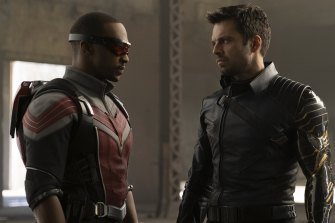 Anthony Mackie (left) as the Falcon and Sebastian Stan as the Winter Soldier in a scene from The Falcon and the Winter Soldier.