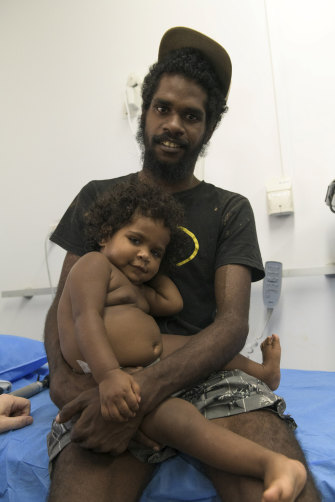 Phillip Accoom and his daughter Rosemary at the Lockhart Medical Centre.