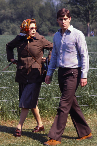 Prince Andrew as a young man with the Queen in 1980.