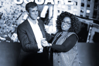Beto O'Rourke on stage with Oprah Winfrey.