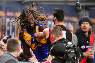A melee started after Zach Merrett pulled one of Nic Naitanui's dreadlocks, with the big Eagle then shoving the Bomber.