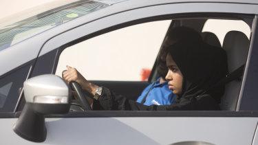 A Saudi woman learning to drive in Jiddah, Saudi Arabia, in March.
