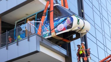 A monorail carriage being installed into the new Google office in Pyrmont, Sydney.