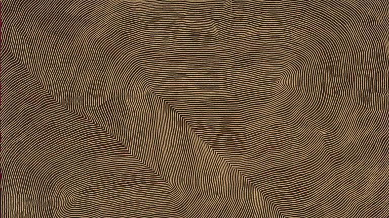 Warlimirrnga Tjapaltjarri, <i>Untitled</i>, 2008, in<i>Western Desert Sublime: The Craig Edwards Gift to the ANU</i> at ANU Drill Hall Gallery.