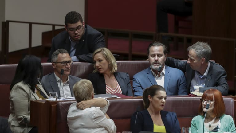 Much hinges on the fortunes of Richard Di Natale, second left, and his Greens senators.