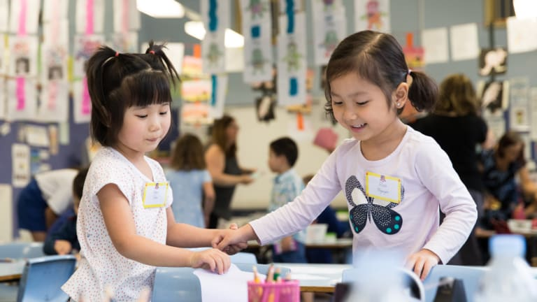 Cherish Chen and Eliza Nguyen in a kindergarten transition class to prepare them for school next year.