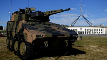 The Rheinmetall Boxer CRV at Parliament House in Canberra.