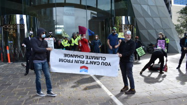 Extinction Rebellion protesters targeting the Perth HQ of Chevron.