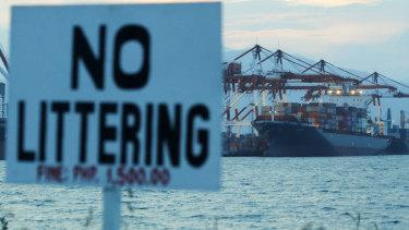 Cargo ship M/V Bavaria docks at Subic port in Zambales, north-western Philippines, on Thursday.