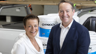 All smiles: incoming CSR chief Julie Coates with chairman John Gillam.