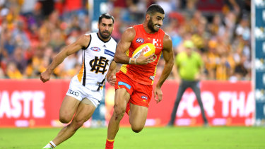 Saad playing for Gold Coast in 2017: happy for the opportunity, but away from his family.