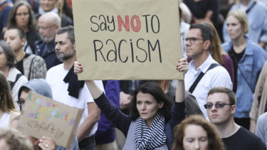 People demonstrate against racism in Berlin, Germany, last week.