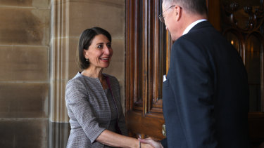 NSW Premier Gladys Berejiklian arrives at Government House in Sydney.