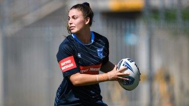 St George Illawarra's Jess Sergis trains ahead of March's Women's Origin fixture at North Sydney Oval.