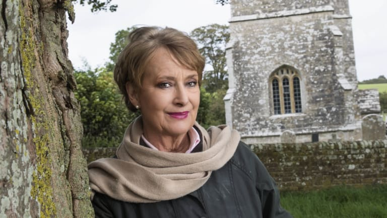 MInette Walters at the church in Dorset.