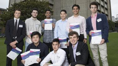 Sydney Grammar School cleans up in the 2018 HSC. Standing (left to right): Richard Palumbo, Nicholas Rice, Kiran Gupta, Joshua Mok, Eric Pavlou, Alexander Crawford. Sitting (left to right): Alexander Desmond Yao, Nathan Scotter and Jack Zimmerman.