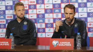 Wary: England manager Gareth Southgate next to Harry Kane during a press conference a day before the Euro 2020 group A qualifying match against Bulgaria at the Vasil Levski national stadium, in Sofia.