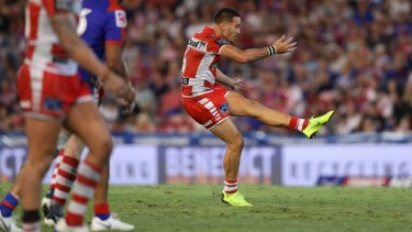 Bruce the goose: Corey Norman kicks the match-winning field goal against the Knights.