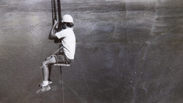 John Eveston at work on the Rip Bridge in 1972.
