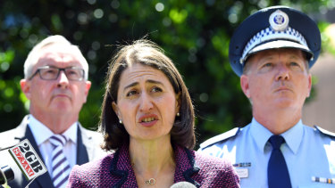 Premier Gladys Berejiklian, with Health Minister Brad Hazzard and NSW Police Commissioner Mick Fuller, as she announced the special commission of inquiry into ice in November 2018.