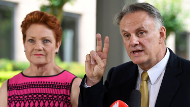 One Nation leader Pauline Hanson, with Mark Latham, whose leadership of the party in NSW could be a major problem for the Coalition.