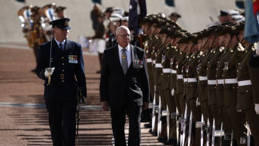 Governor-General David Hurley inspects the Royal Guard after he was sworn in at Parliament House in Canberra.