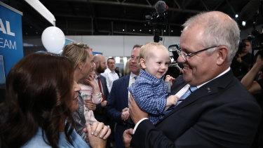 Scott Morrison campaigning in Tasmania.