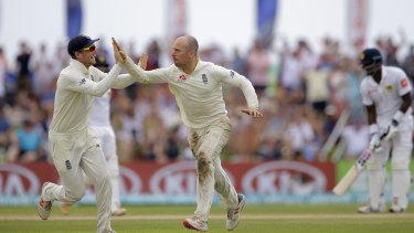 Left-field option: Jack Leach celebrates a wicket during England's tour of Sri Lanka last year.